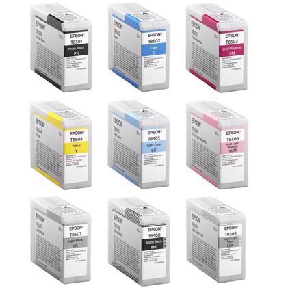 Fullt sett med 80 ml blekkpatroner til Epson SureColor P800